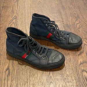 Men's Gucci High Top Black Sneaker Canvas Size 9